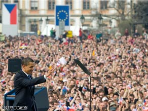 Obama in Prague image / cnn.com image