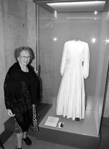 Lilly Friedman and her parachute dress on display in the Bergen Belsen Museum