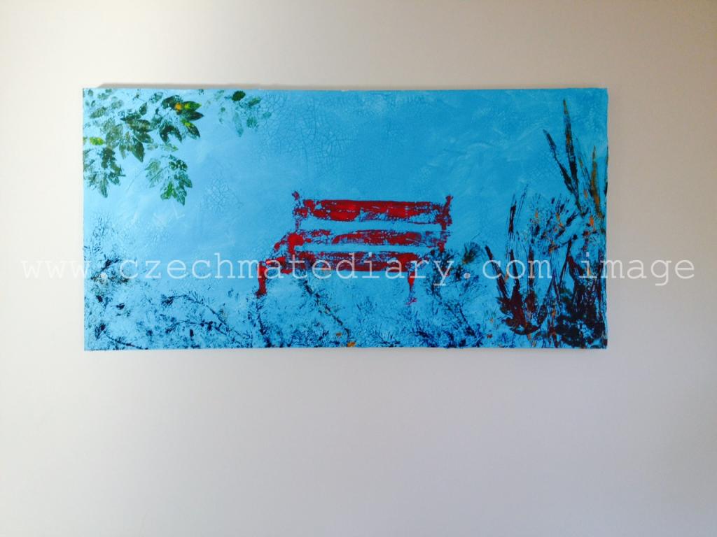 acrylic painting of a park bench / www.czechmatediary.com