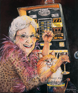 old lady playing slots