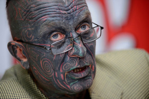 Vladimir Franz / http://designyoutrust.com/2012/09/vladimir-franz-completely-tattooed-czech-presidential-candidate/